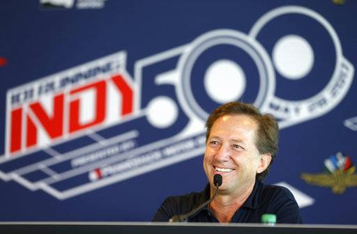 Former race car driver John Andretti speaks during a press conference at Indianapolis Motor Speedway, Thursday, May 18, 2017, in Indianapolis. John Andretti is in the fight of his life. He's battling stage four cancer. (AP Photo/Michael Conroy)