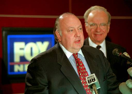 FILE - In this Jan. 30, 1996 file photo, Roger Ailes, left, speaks at a news conference as Rupert Murdoch looks on after it was announced that Ailes will be chairman and CEO of Fox News. Fox News said on Thursday, May 18, 2017, that Ailes has died. He was 77.