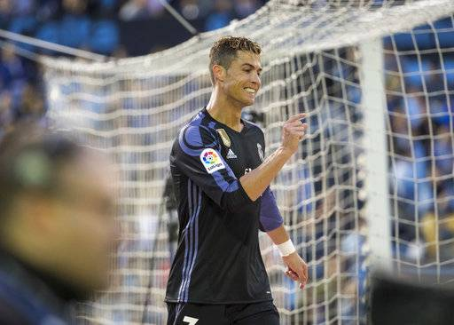 Real Madrid's Cristiano Ronaldo gestures during a Spanish La Liga soccer match between Celta and Real Madrid at the Balaidos stadium in Vigo, northern Spain, Wednesday, May 17, 2017. (AP Photo/Lalo R. Villar)