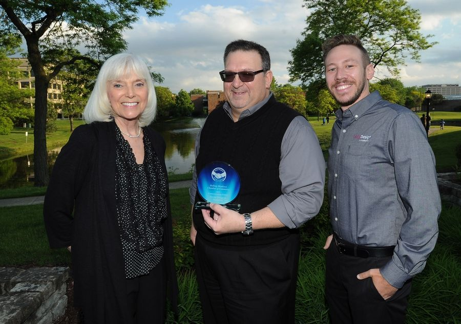 Mark Welsh/mwelsh@dailyherald.comCommunications Partner award goes to Divine Design and Marketing with Karyl Friedman, Chuck Veglia and Lu Natalino at the Rolling Meadows Chamber of Commerce 2017 Circle of Success Awards Recognition Dinner in Schaumburg.