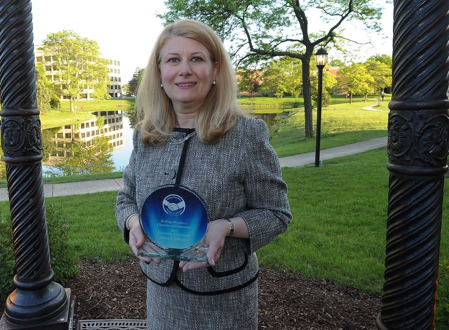 Mark Welsh/mwelsh@dailyherald.comCommunity Enhancement award goes to Anna Rozenich of Arthur Gallagher at the Rolling Meadows Chamber of Commerce 2017 Circle of Success Awards Recognition Dinner in Schaumburg.