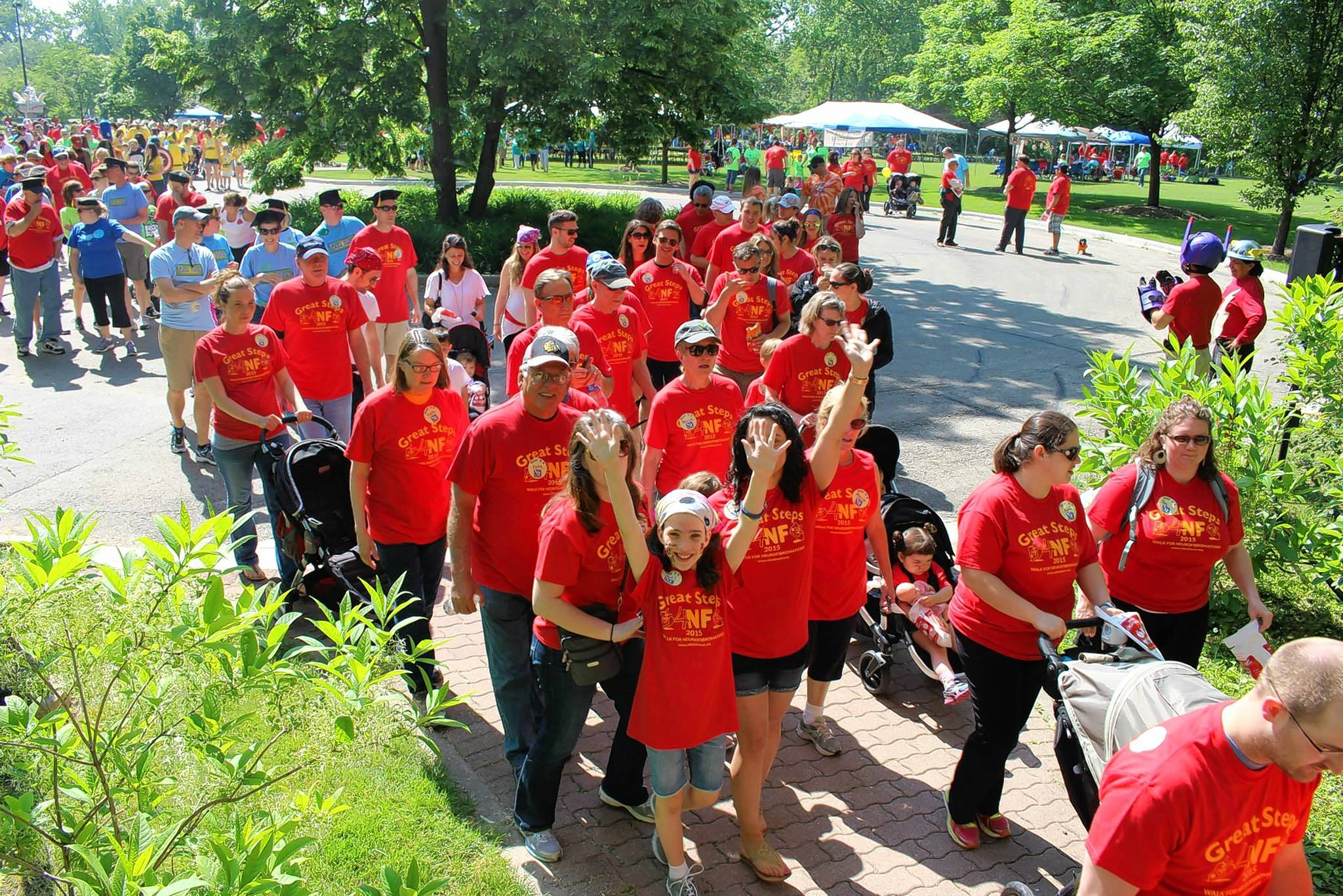 Great Steps 4NF draws hundreds of walkers from throughout the region to Naperville to raise money for research into neurofibromatosis, a genetic disorder that causes tumors to grow spontaneously on sufferers' nerve endings.