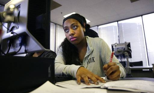 FILE - In this Friday, March 10, 2017, file photo, jobseeker Kiana Cupit works on her resume during a resumes writing class at the Texas Workforce Solutions office in Dallas. On Friday, May 19, 2017, the Labor Department reports on state unemployment rates for April. (AP Photo/LM Otero, File)