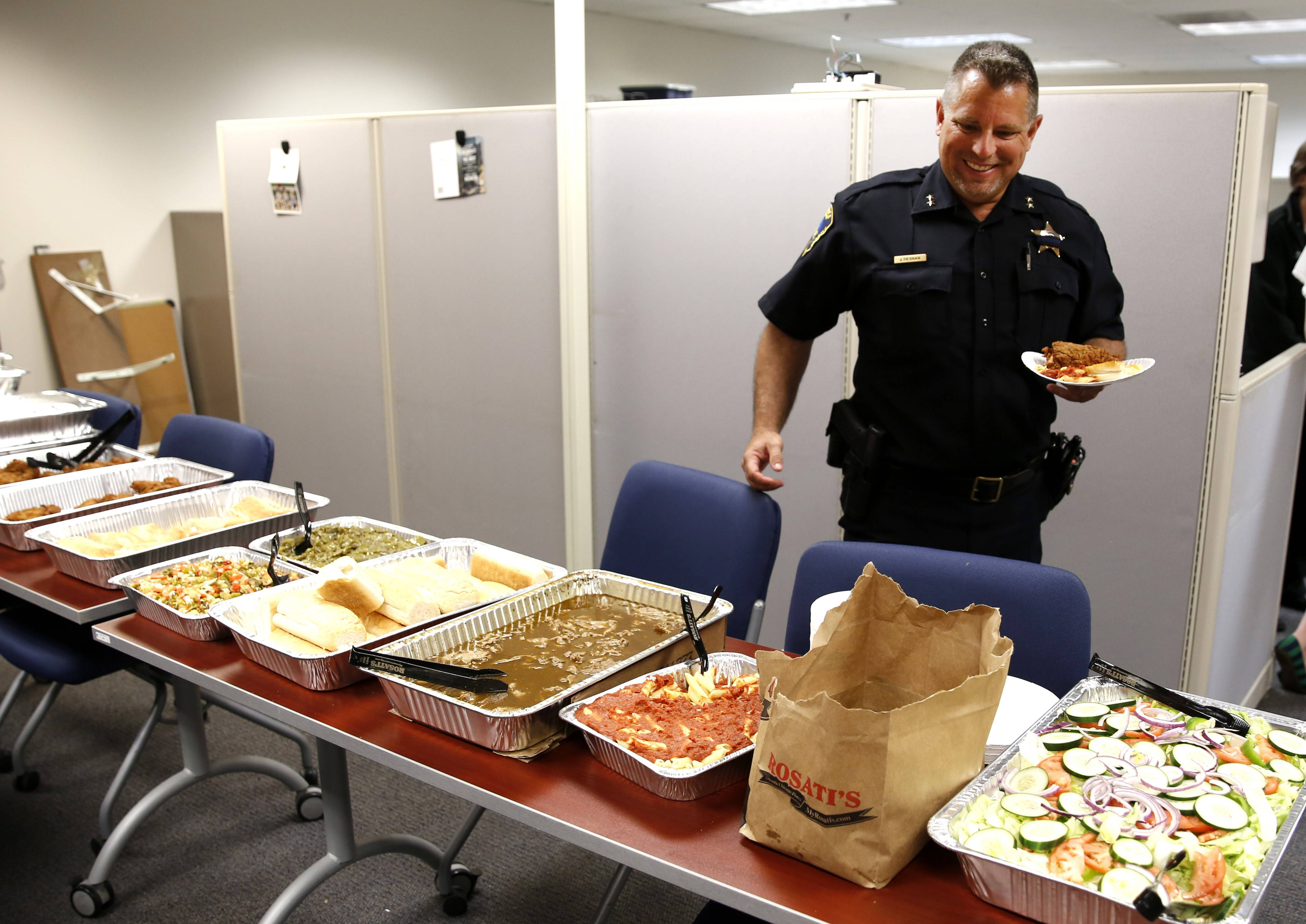 "Rosati's prepared lunch for Carol Stream police officers Wednesday as part of an effort organized by business owner Jennifer Rawls during National Police Week. Deputy Chief Jeff Degnan, above, called it a ""a fantastic gesture."""
