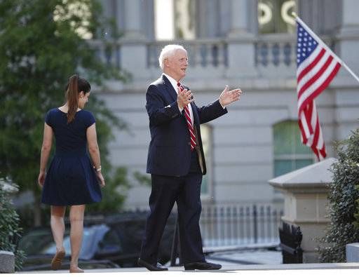 Former Oklahoma Gov. Frank Keating stops to answers questions from members of the media as he leaves the West Wing of the White House in Washington, Wednesday, May 17, 2017. The White House says President Donald Trump will be interviewing four potential candidates to lead the FBI.