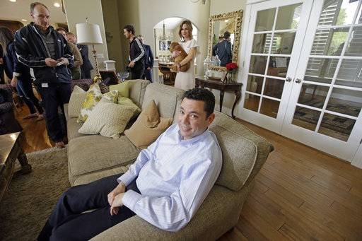 U.S. Rep. Jason Chaffetz speaks with reporters at his home Thursday, May 18, 2017, in Alpine, Utah. Chaffetz said Thursday that he will resign from Congress next month, a move that calls into question the future of the House Oversight Committee's investigation he promised to lead about President Donald Trump's firing of the FBI director and his presidential campaign's ties with Russia.