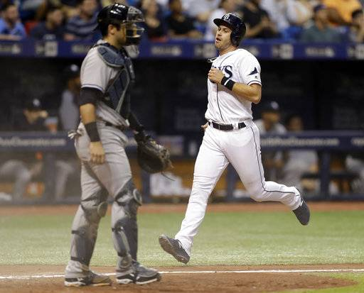 Tampa Bay Rays' Evan Longoria, right, scores in front of New York Yankees catcher Austin Romine on a two-run double by Rickie Weeks off New York Yankees relief pitcher Chasen Shreve during the seventh inning of a baseball game Friday, May 19, 2017, in St. Petersburg, Fla. (AP Photo/Chris O'Meara)