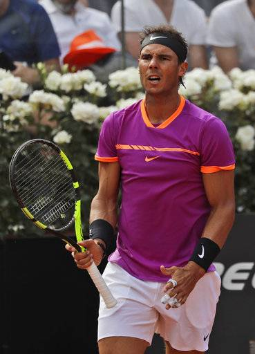 Rafael Nadal of Spain reacts after winning a game during his match against Dominic Thiem of Austria at the Italian Open tennis tournament, in Rome, Friday, May 19, 2017. Thiem beat Nadal 6-4, 6-3.