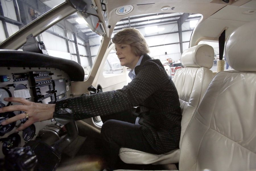 Nancy Blazyk of Crystal Lake, a former substitute teacher for Crystal Lake High School District 155 and a private pilot since 1986, does an instruments check on a plane at Lake in the Hills Airport. She helped make District 155's new ground school aviation curriculum more user friendly.