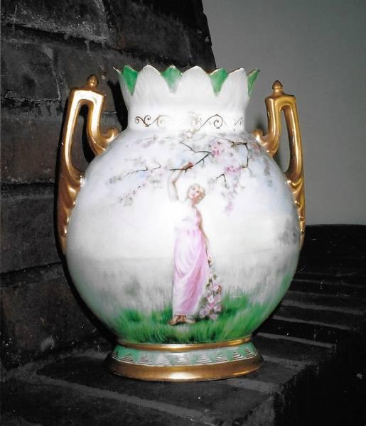 Porcelain Vase Stars Grecian Maidens