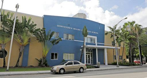 This Wednesday, May 17, 2017 photo shows the Downtown Miami Charter School in Miami. In 2012, the mother of a second-grade student at the school filed suit after she said she pleaded in vain for months for administrators to protect her son from sexual abuse by an older boy at the charter school. Eventually, the 7-year-old tried to kill himself by walking into traffic with his eyes closed, according to the family's lawsuit. Two years later, the boy testified, he still had nightmares his tormenter would crawl in through his bedroom window and kill his mother.