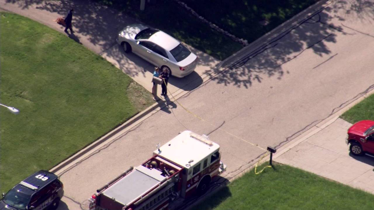 An aerial view of the scene of a fatal car crash Monday in Carpentersville.
