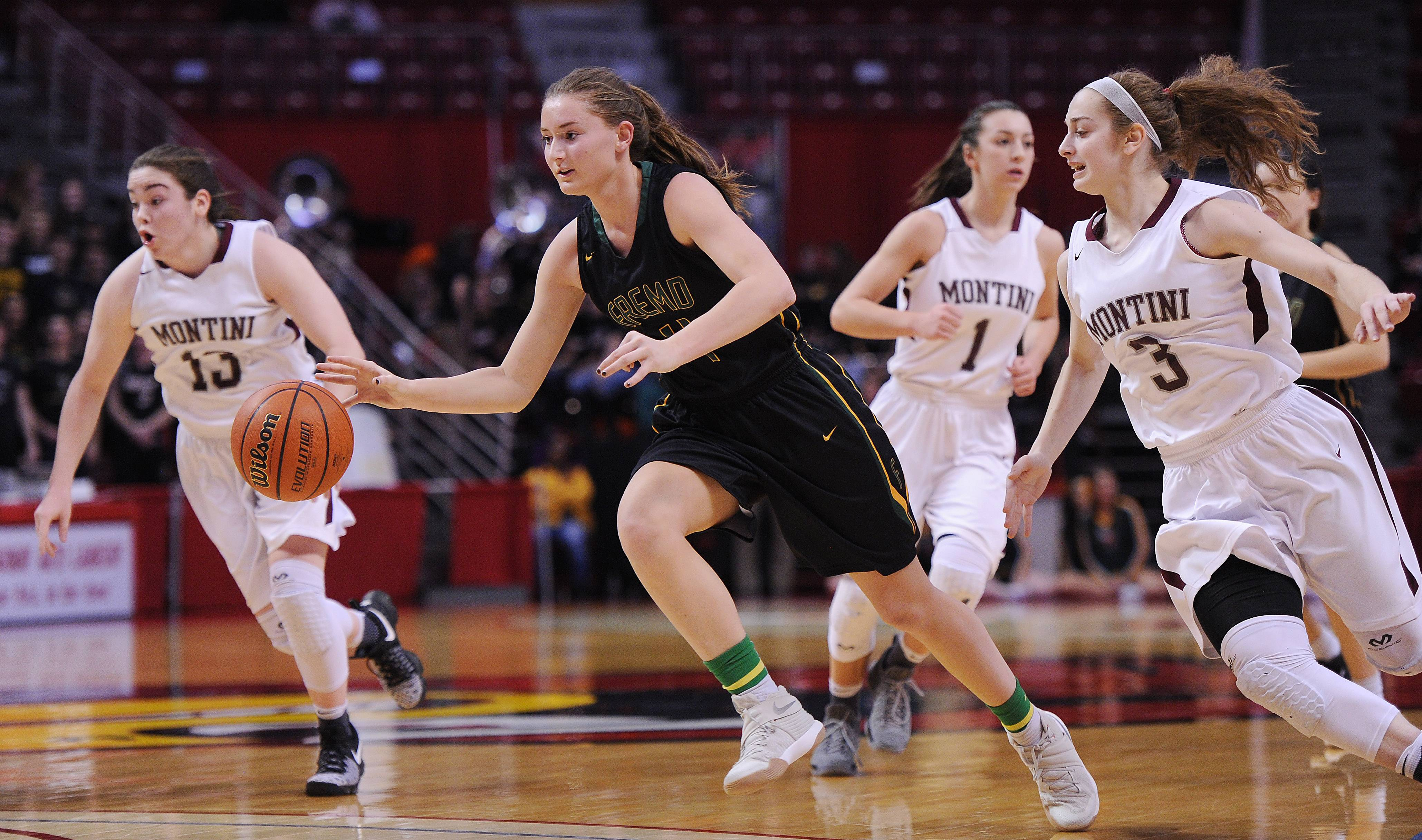 Fremd's Missy Adrian, here looking for an opening against Montini in state tournament play, is this year's winner of the District 211 Jaymes Huddleston Memorial Scholarship.