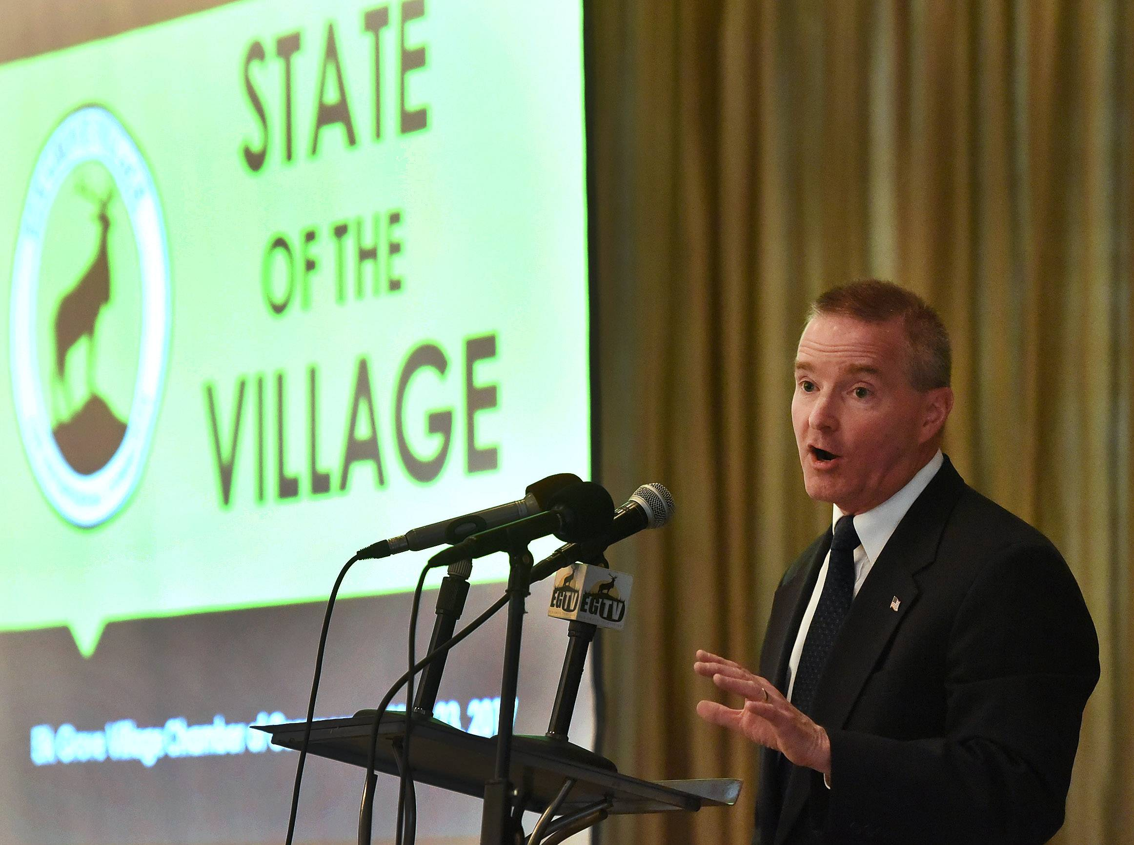 "Elk Grove Village Mayor Craig Johnson hinted at plans Tuesday for redevelopment of the Busse Farm during his annual State of the Village address. ""Busse Farm is not going to be a farm for much longer,"" he said."