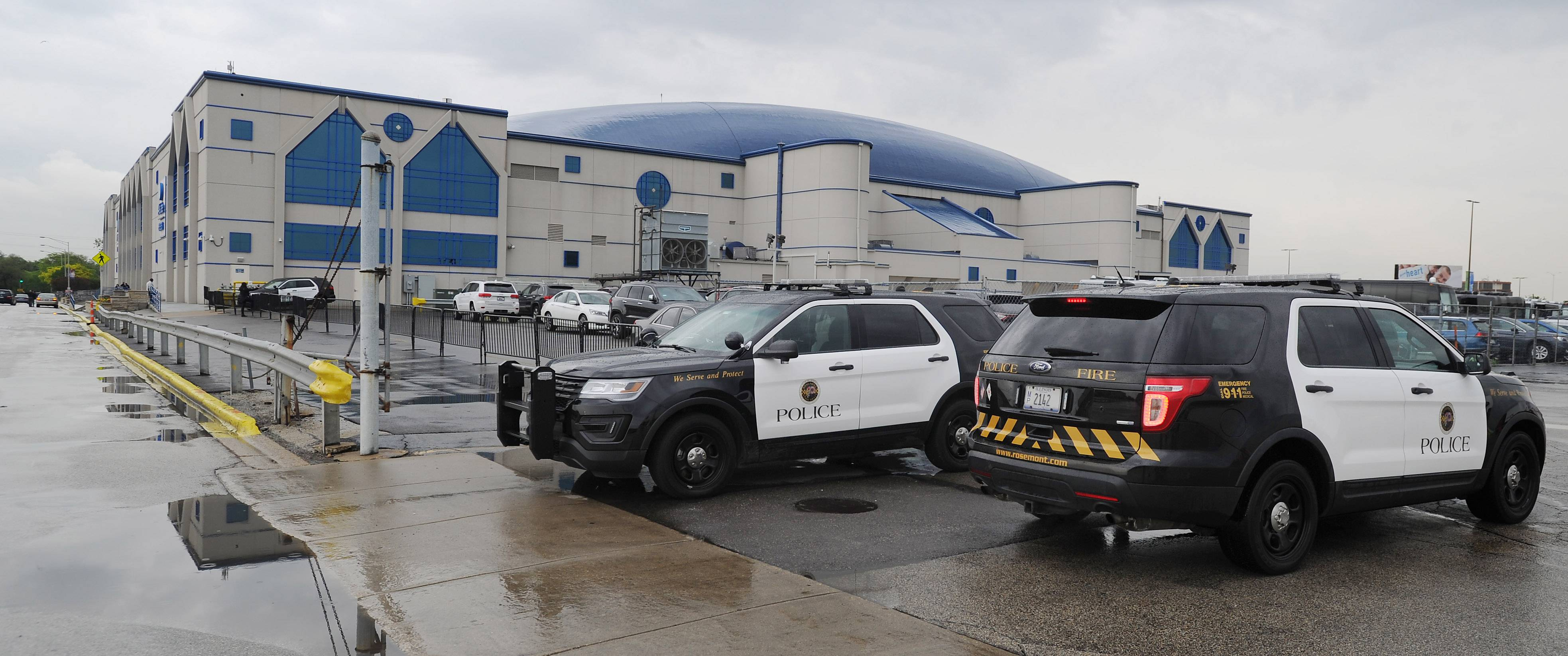 Security was tight with police cars at all the major entrances at the Allstate Arena in Rosemont for Tuesday's concert by The Weeknd.