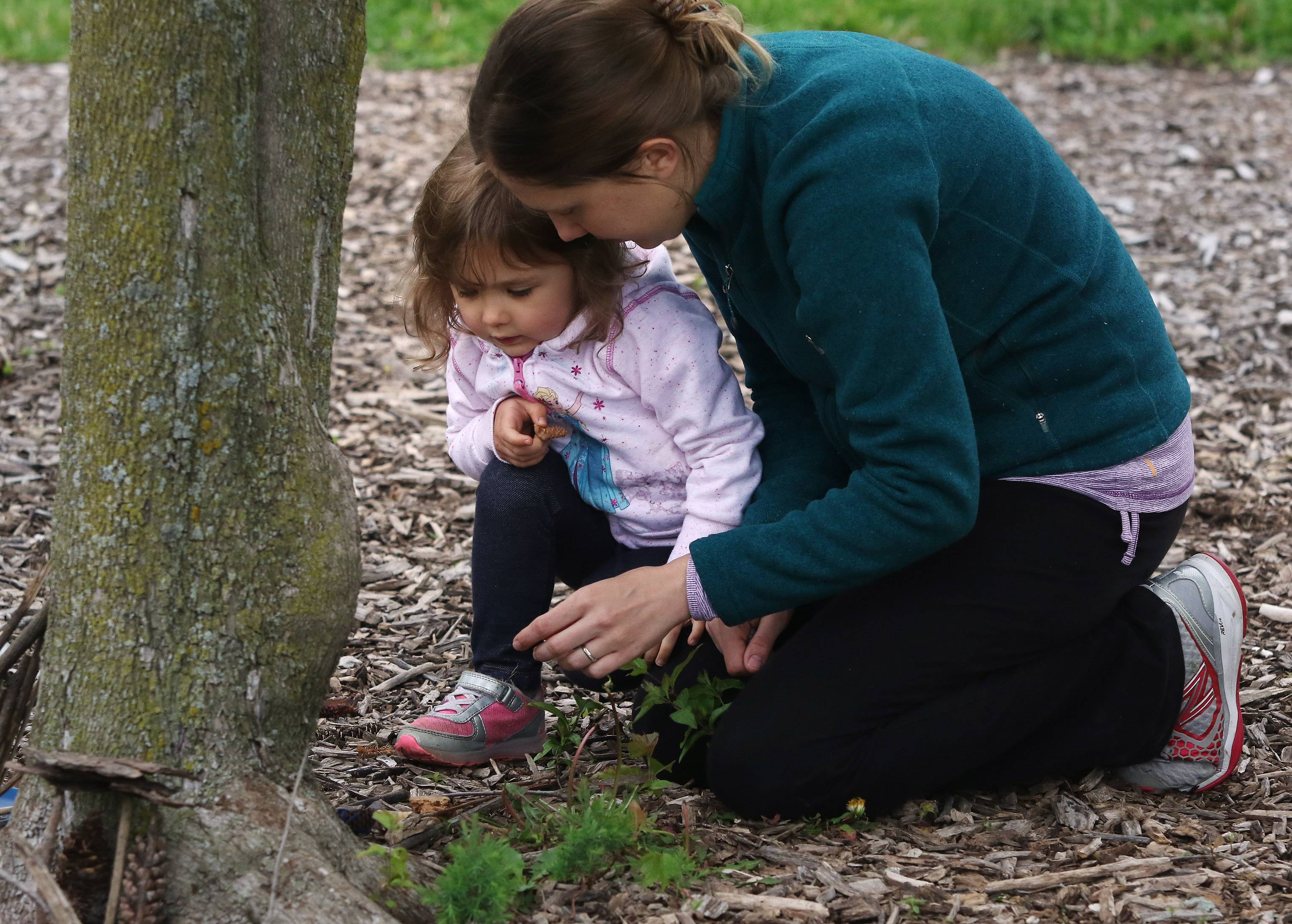 "Kelly Holverson of Beach Park and her daughter Brighton, 3, make a fairy house during ""Playdate with Nature"" on Tuesday at Half Day Forest Preserve near Lincolnshire. The Lake County Forest Preserve program also featured painting with mud and skimming a pond for aquatic creatures."