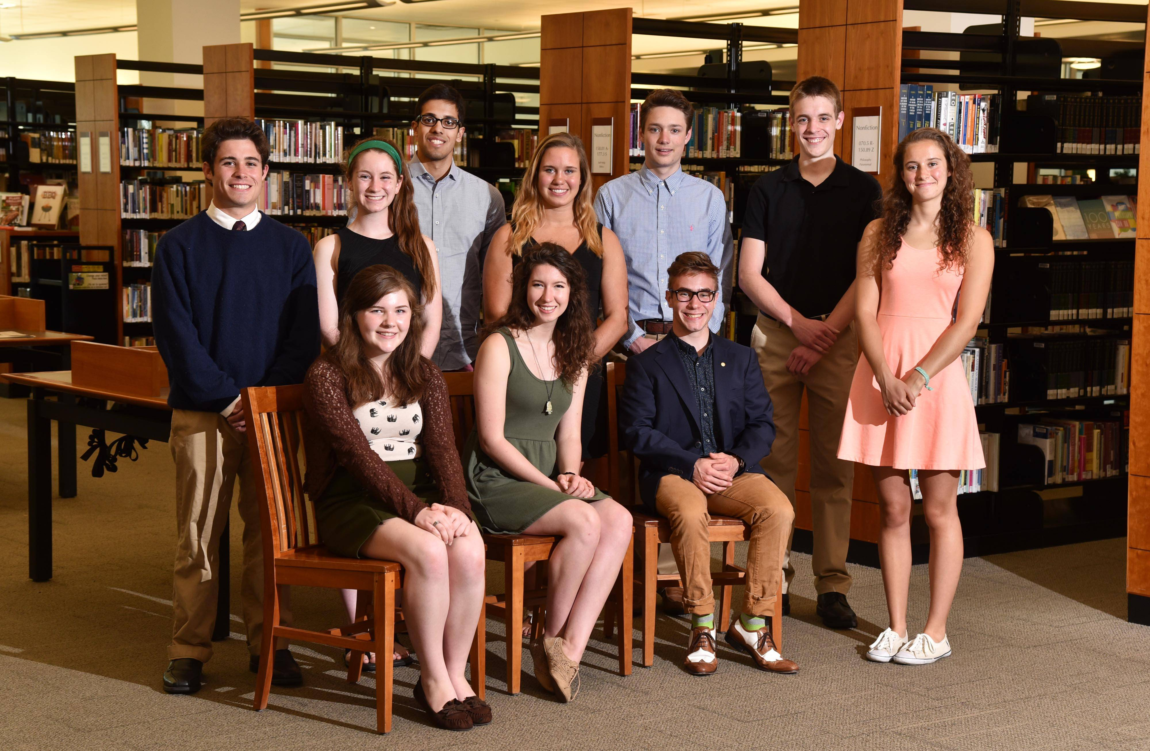 Members of the Daily Herald Fox Valley Academic Team are, from left, sitting, Amelia Deering, Elgin Academy; Nicole Renee Palmer, St. Charles North High School; Ryan Thornton, Marmion Academy; and from left, standing, Maximilian Hall Troyke, Elgin High School; Caitlin O'Callaghan, Illinois Math and Science Academy; Eshan Mehrotra, Illinois Math and Science Academy; Amanda Rose Drobek, St. Edward Central Catholic High School; Jacob Fiedler, Marian Central Catholic High School; Alan Koval, St. Charles East High School; and Maisy Feeley, Elgin Academy.
