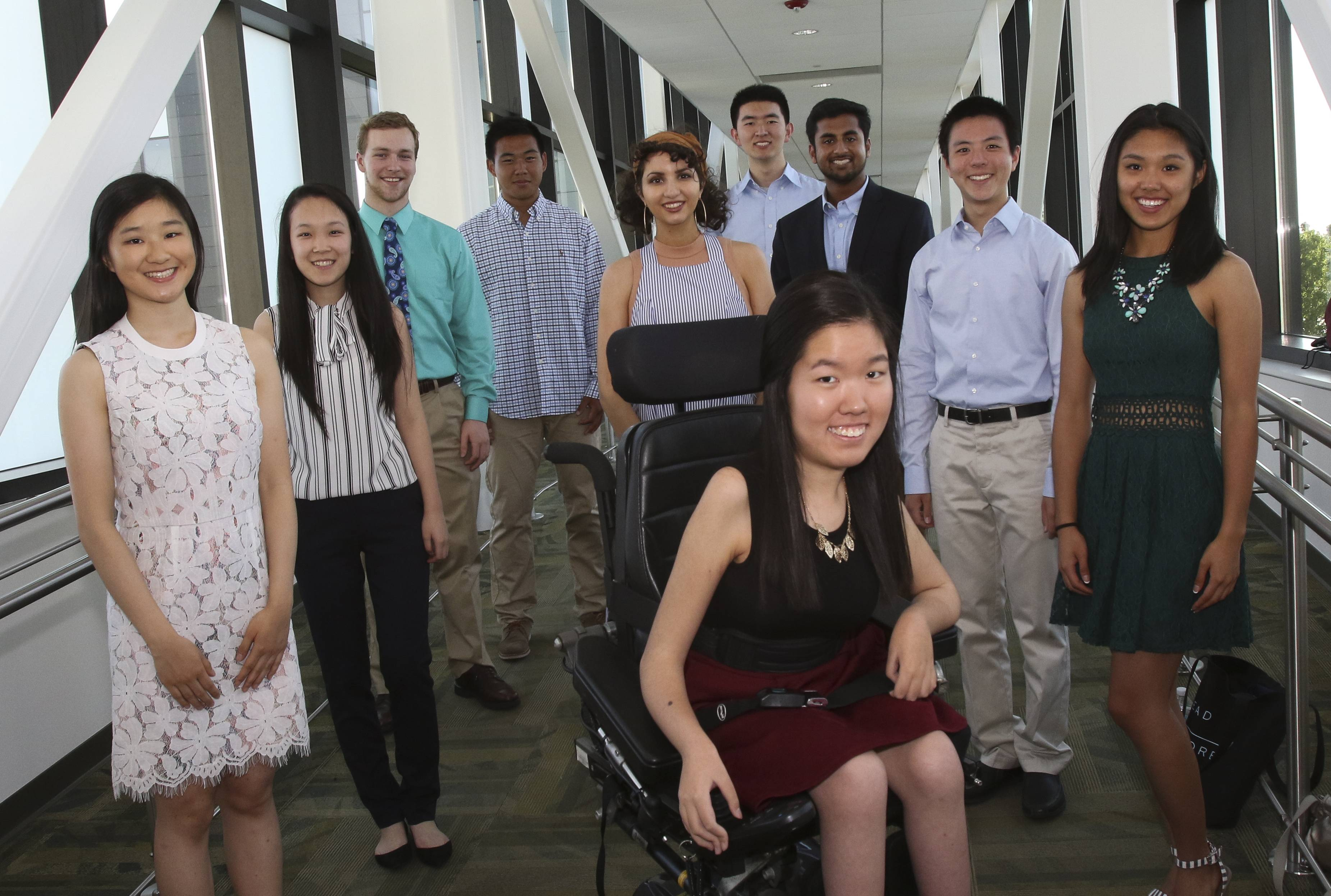 Ten students have been chosen for the 2017 Daily Herald Academic Team for DuPage County. Front and center is Jungin Angie Lee of Metea Valley. Left to right in the back are Grace Linrui Hong, Neuqua Valley; Whitney Jin, Waubonsie Valley; Stephen Bean, Glenbard South; William Zhang, Naperville Central; Emma Wilson, Downers Grove North; Rick Li, Naperville Central; James Mathew, Hinsdale Central; Kelvin Li, Naperville North; and Vivian Yuan, Naperville North.