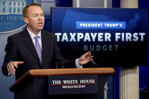 Budget Director Mick Mulvaney speak to the media about President Donald Trump's proposed fiscal 2018 federal budget in the Press Briefing Room of the White House in Washington, Tuesday, May 23, 2017. (AP Photo/Andrew Harnik)