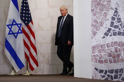 President Donald Trump arrives to deliver a speech at the Israel Museum, in Jerusalem, Tuesday, May 23, 2017. (AP Photo/Evan Vucci)