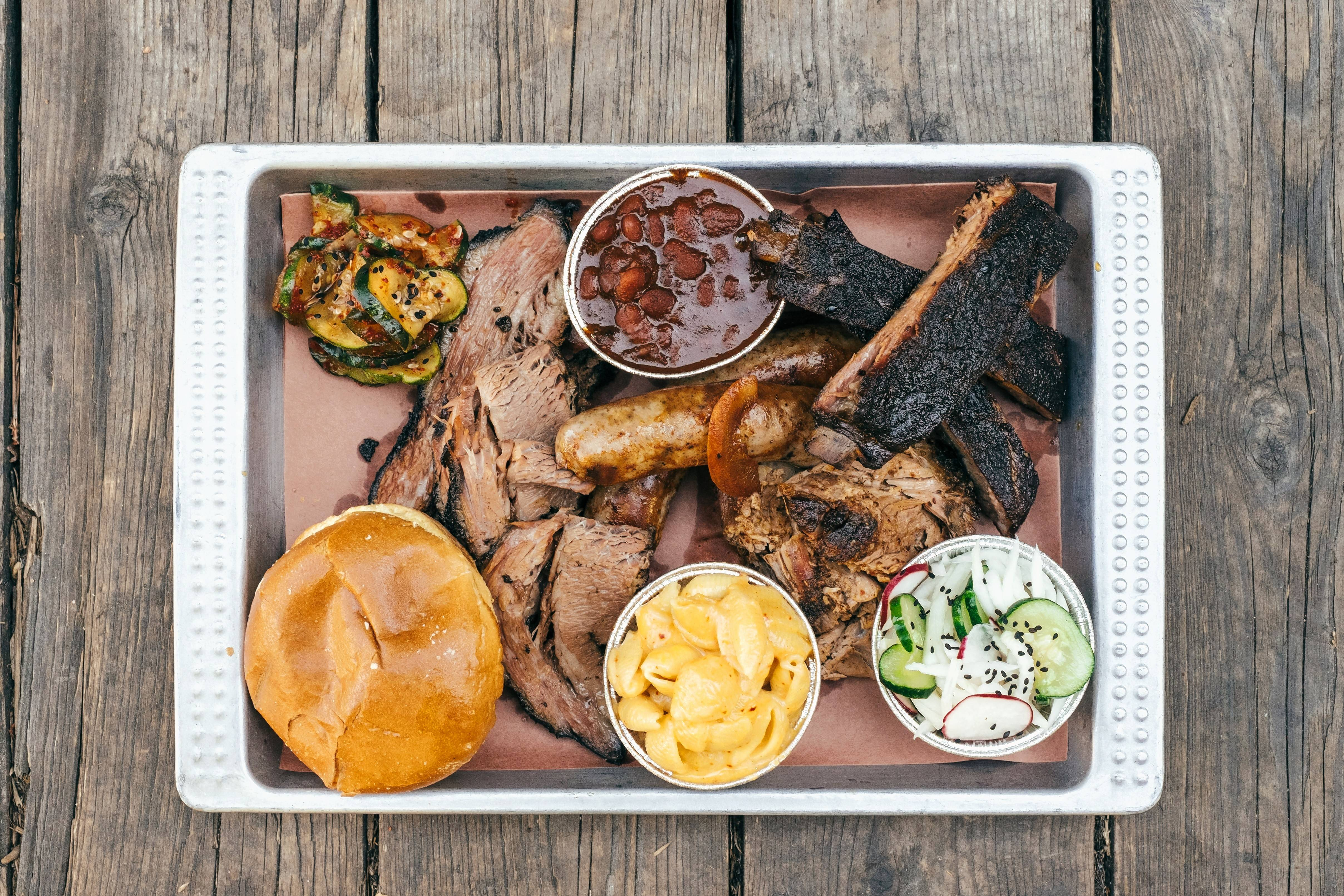 Korean influences go into what otherwise looks like a traditional tray of barbecue at Heirloom Market BBQ in Atlanta.
