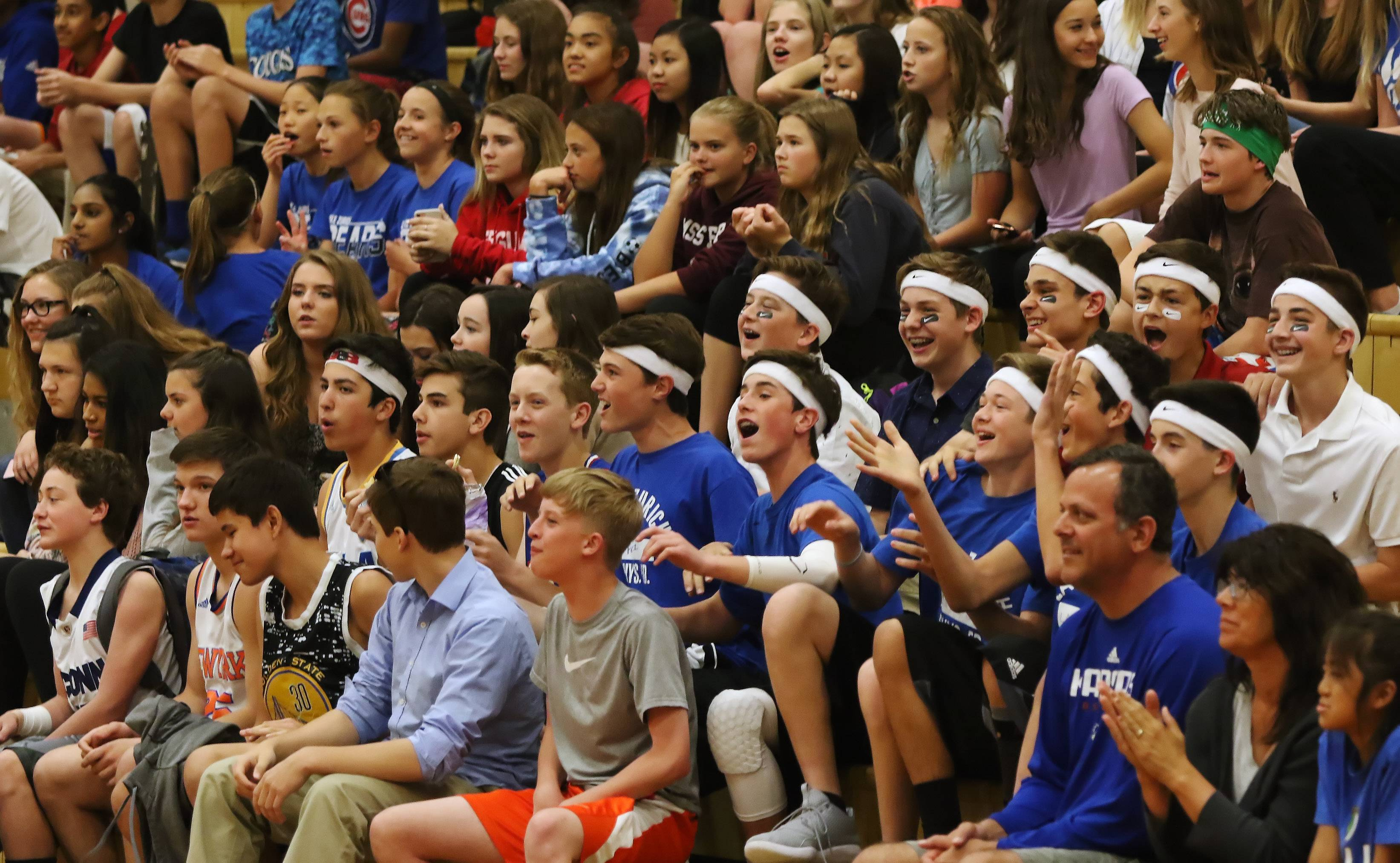 Fans cheer as the Average Joe's battle Team Callero during a charity dodgeball tournament Thursday at Lake Zurich Middle School South. The event was hosted by the student council to benefit NephCure, a nonprofit organization that provides support for people who suffer from kidney disease.
