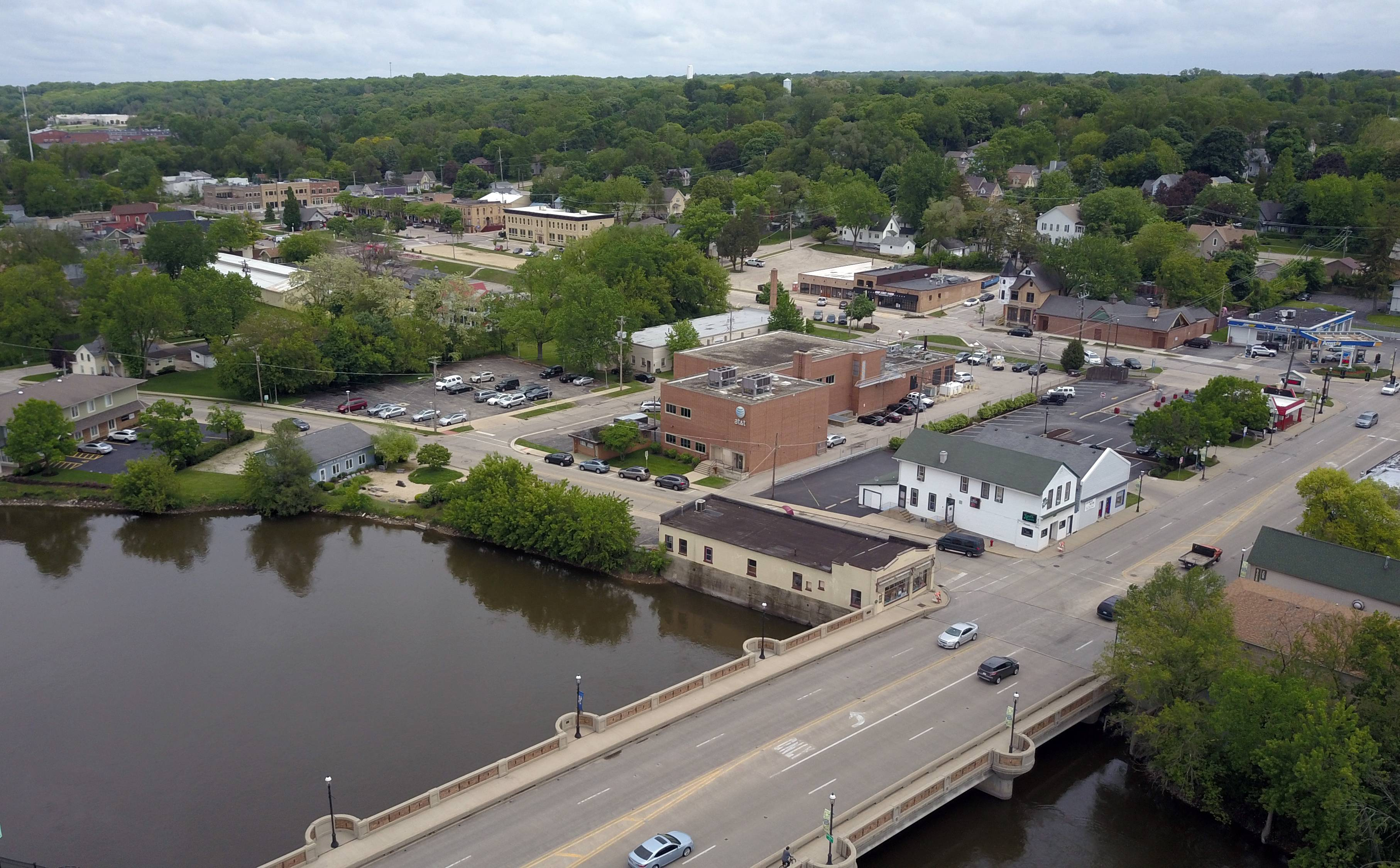 The population of East Dundee, as seen from this drone photo, has grown 11 percent since 2010. But many suburbs recently have been losing population.