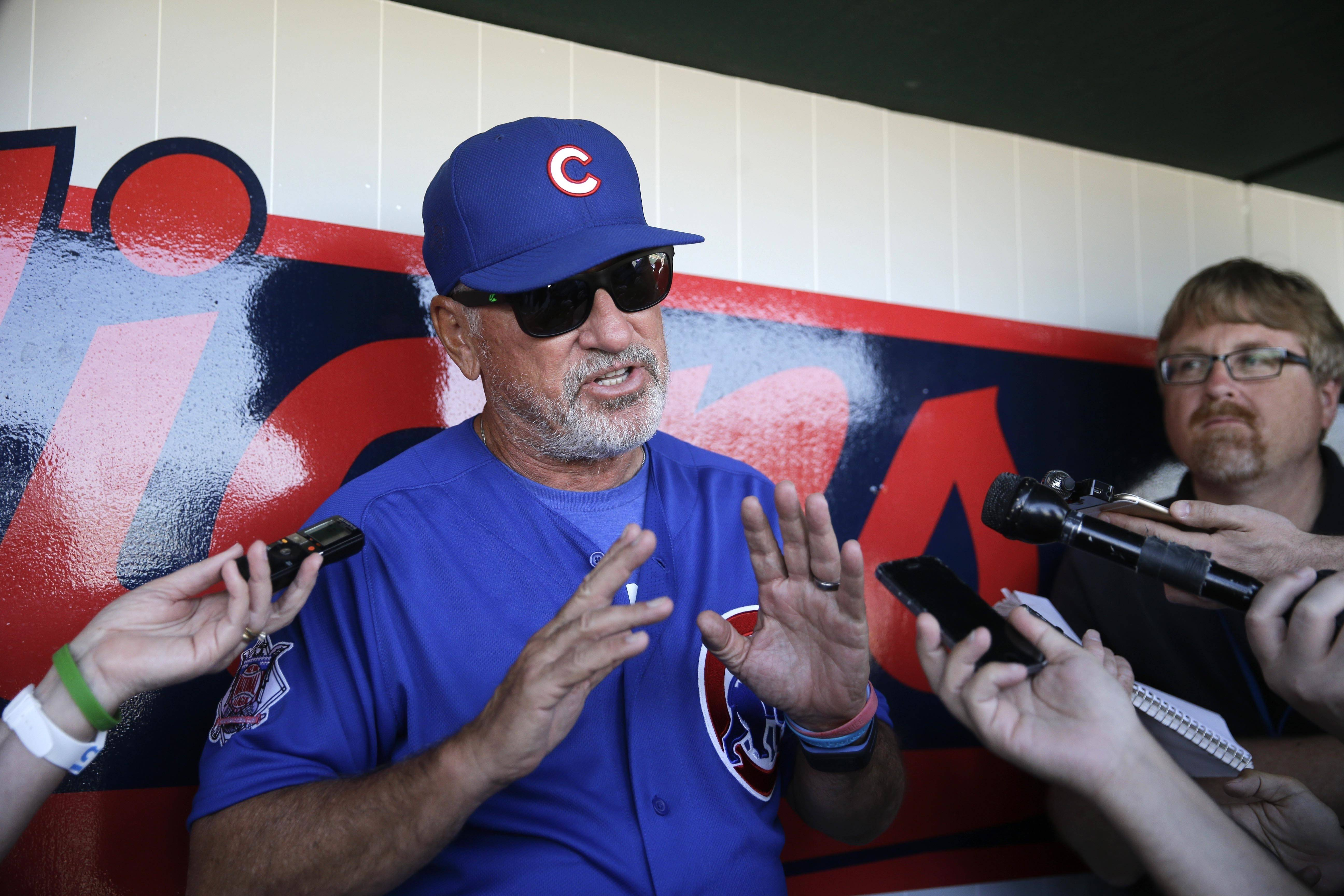 "With the Cubs' system rich with both elite prospects and major league-ready talent, it's no surprise that many of manager Joe Maddon's players have come up in trade rumors, especially when it comes to young players like Ian Happ, Kyle Schwarber and Javier Baez. ""A lot of times when people are mentioned in a trade, sometimes if it's perceived that they aren't doing well people want to push them to the front of the line, then all of a sudden, they start doing well and they go to the back of the line,"" Maddon said."