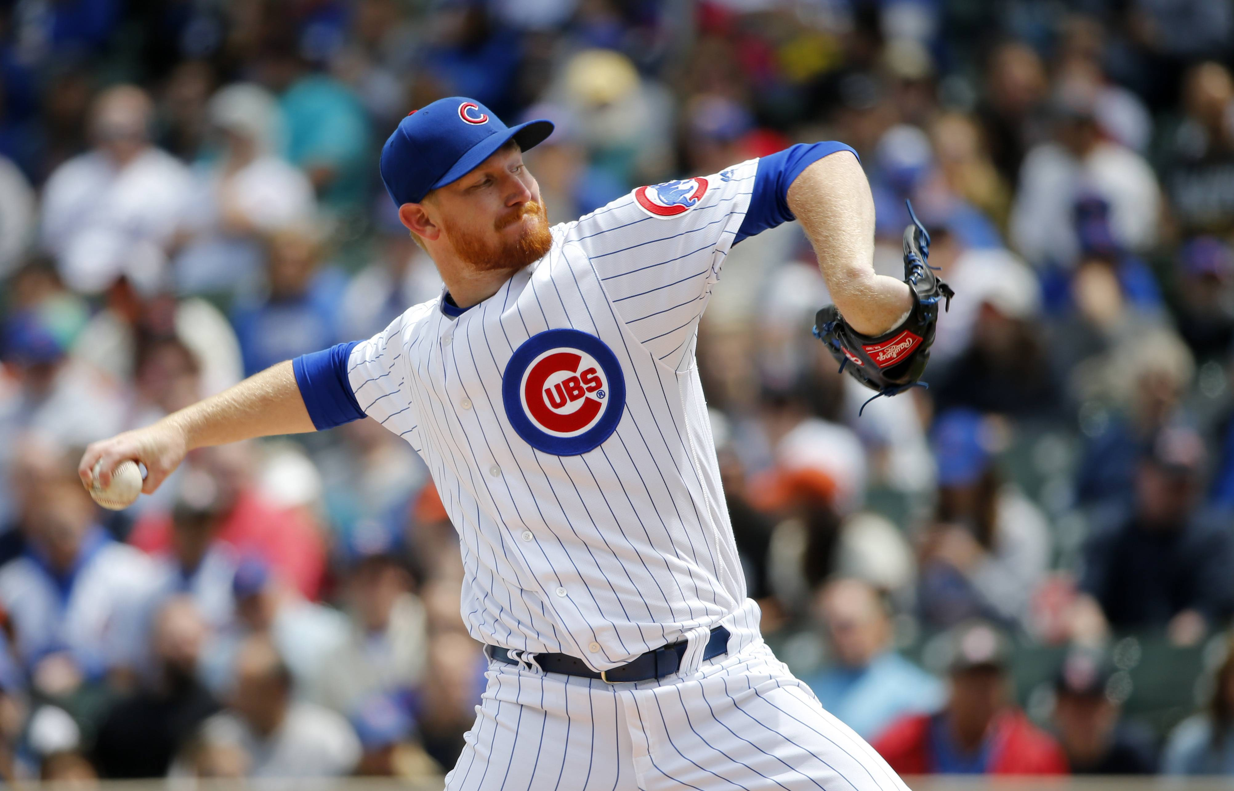 Chicago Cubs starting pitcher Eddie Butler delivers during the first inning of a baseball game against the San Francisco Giants Thursday, May 25, 2017, in Chicago. (AP Photo/Charles Rex Arbogast)