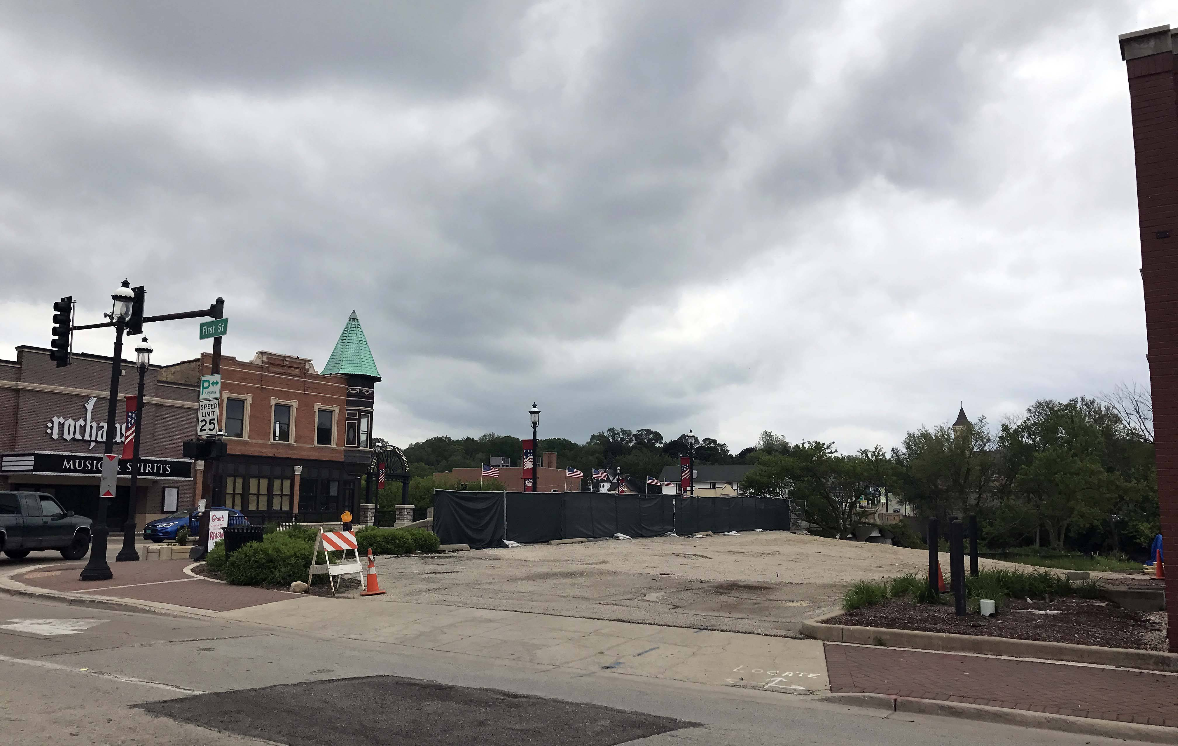 The southeast corner of First and Main streets in downtown West Dundee will be getting a facelift this summer if trustees move forward with a $1.12 million construction contract to improve the area.