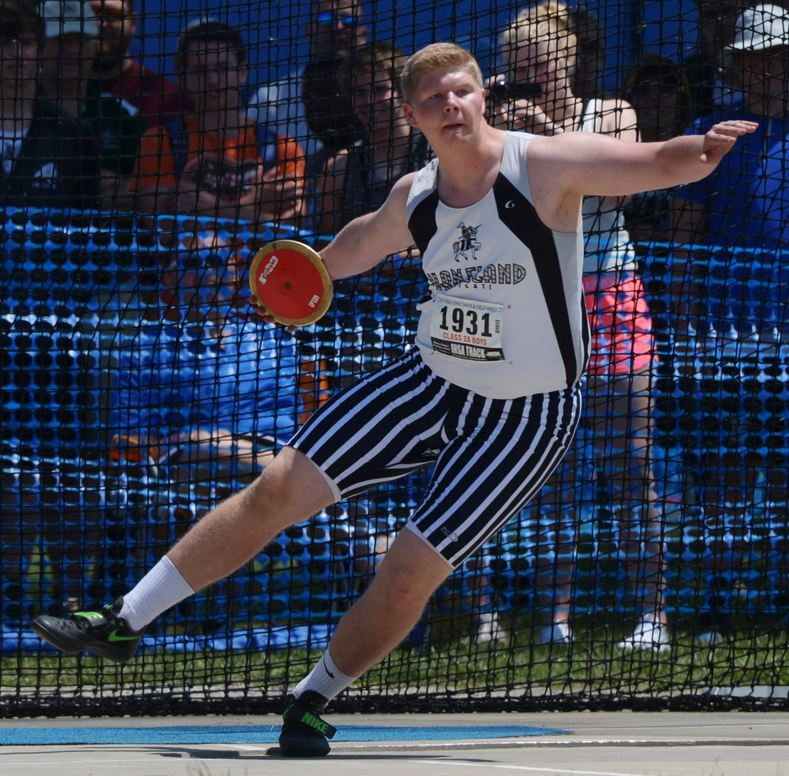 Kaneland's Clayton Hannula competes in the Class 2A discus throw during the boys state track and field preliminaries at Eastern Illinois University in Charleston Friday.