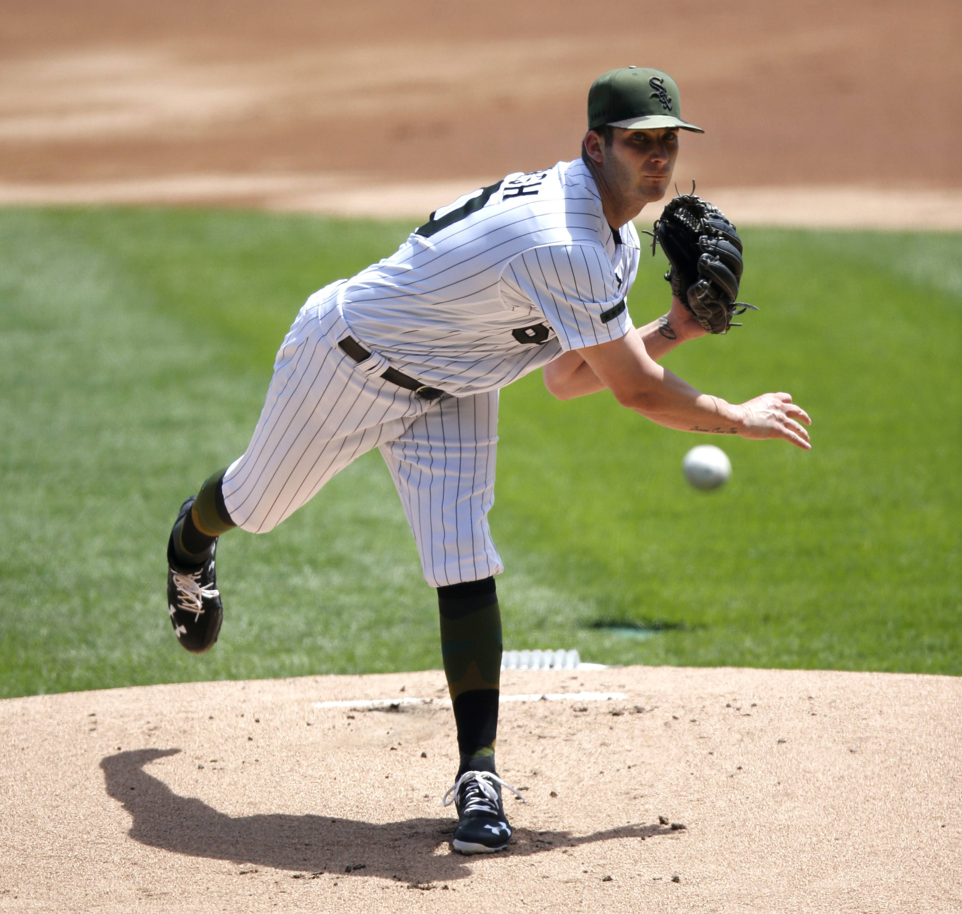 Chicago White Sox's starting pitcher Tyler Danish delivers during the first inning of a baseball game against the Detroit Tigers Saturday, May 27, 2017, in Chicago. (AP Photo/Charles Rex Arbogast)