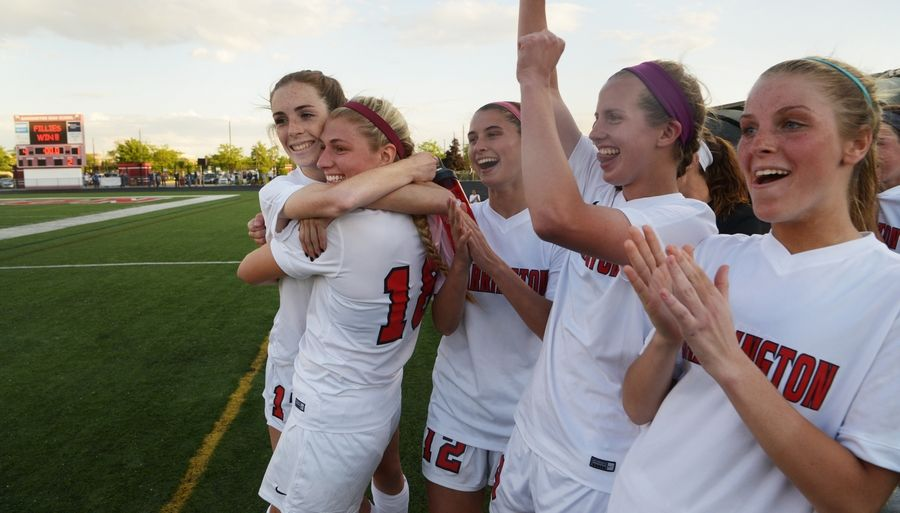 From left, Barrington's Sophia Spinell, Haley Tausend, Ashley Prell, Madi Rosen and Michayla Herr celebrate their team's 4-1 victory over Rockton Hononegah during the Class 3A girls soccer Barrington supersectional Tuesday.