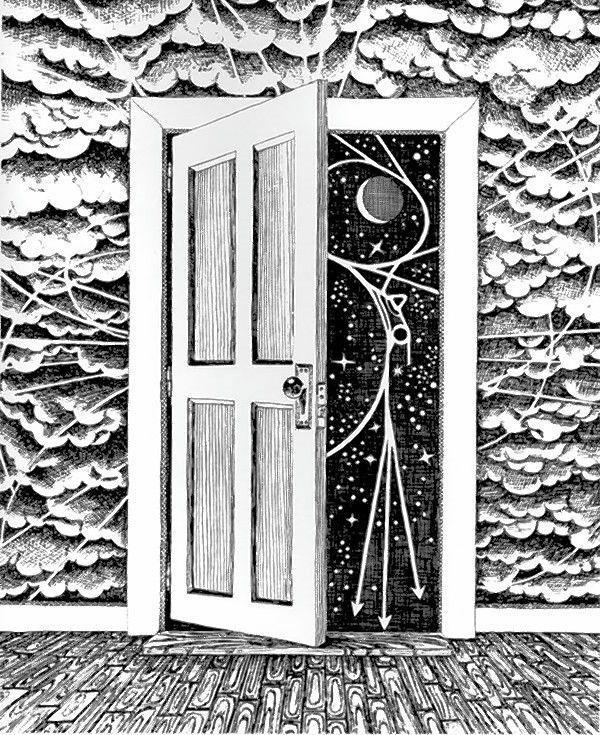 Artwork by Angela Gonzales depicts the Fermilab accelerator complex in the stars behind the door.