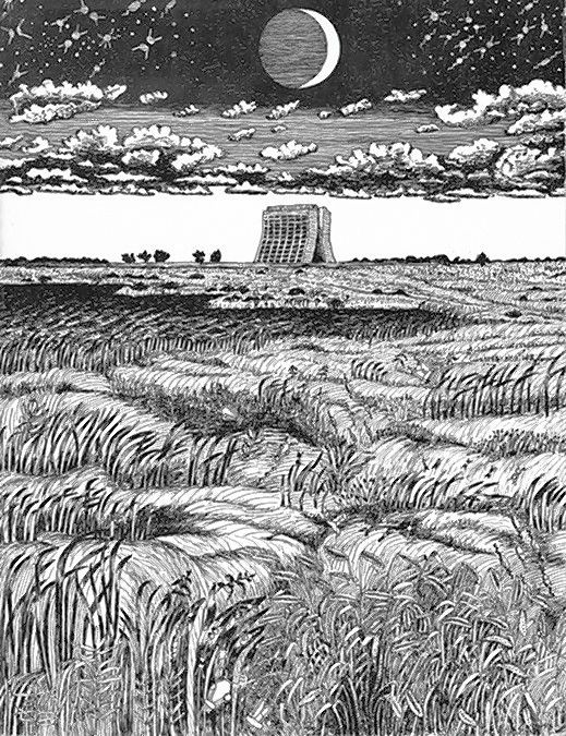 Fermilab's Wilson Hall and expansive prairie, drawn by artist Angela Gonzales.