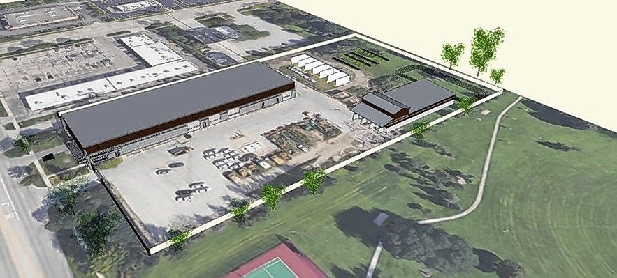 A rendering shows Elk Grove Village's plans to upgrade the public works facility on Biesterfield Road.