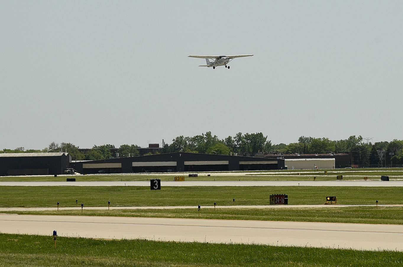 A small aircraft takes off from Chicago Executive Airport, which is conducting a public safety campaign about drones.