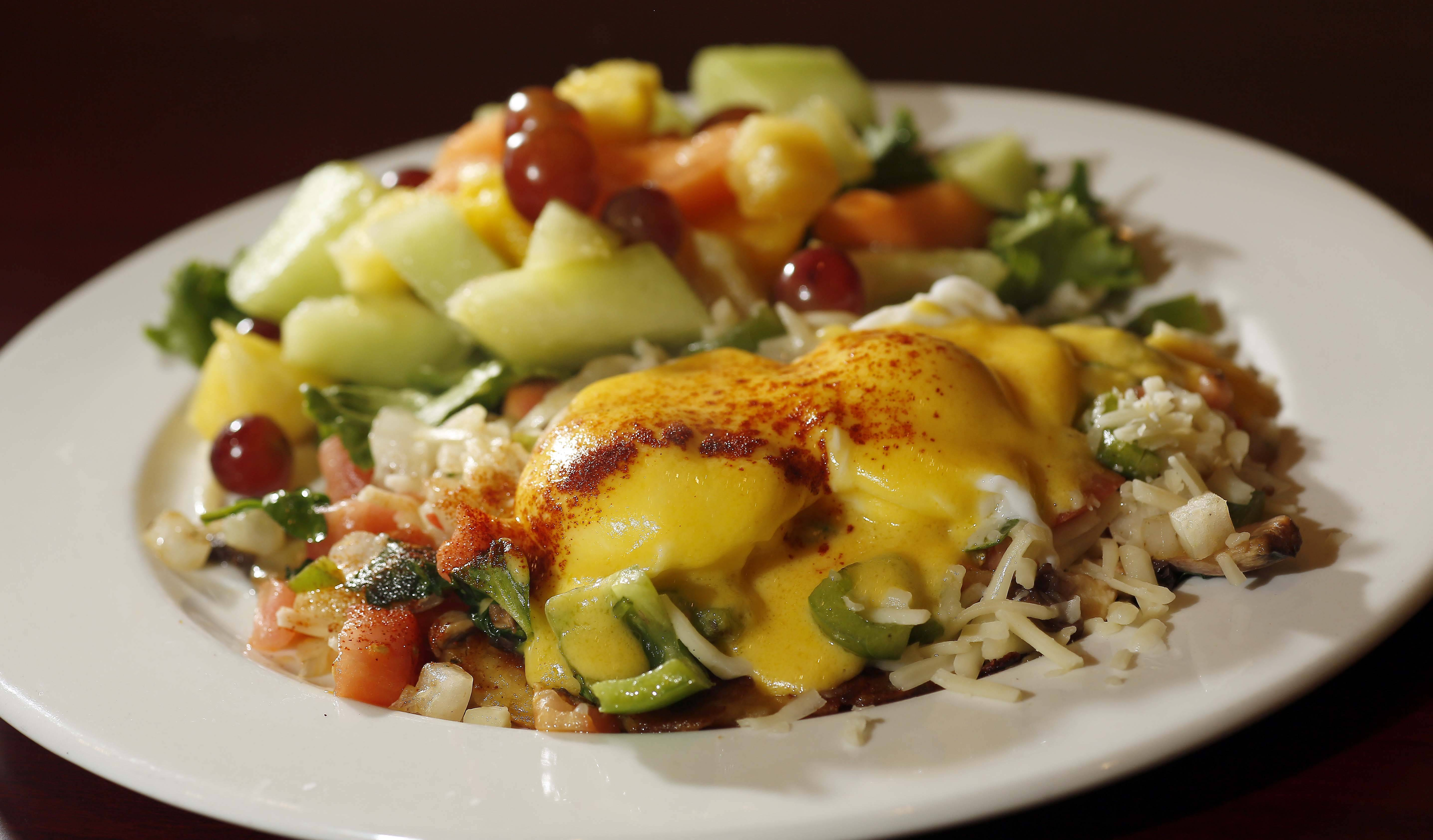 The veggie potato pancake is an inventive take on eggs Benedict at Brunch Cafe in St. Charles.