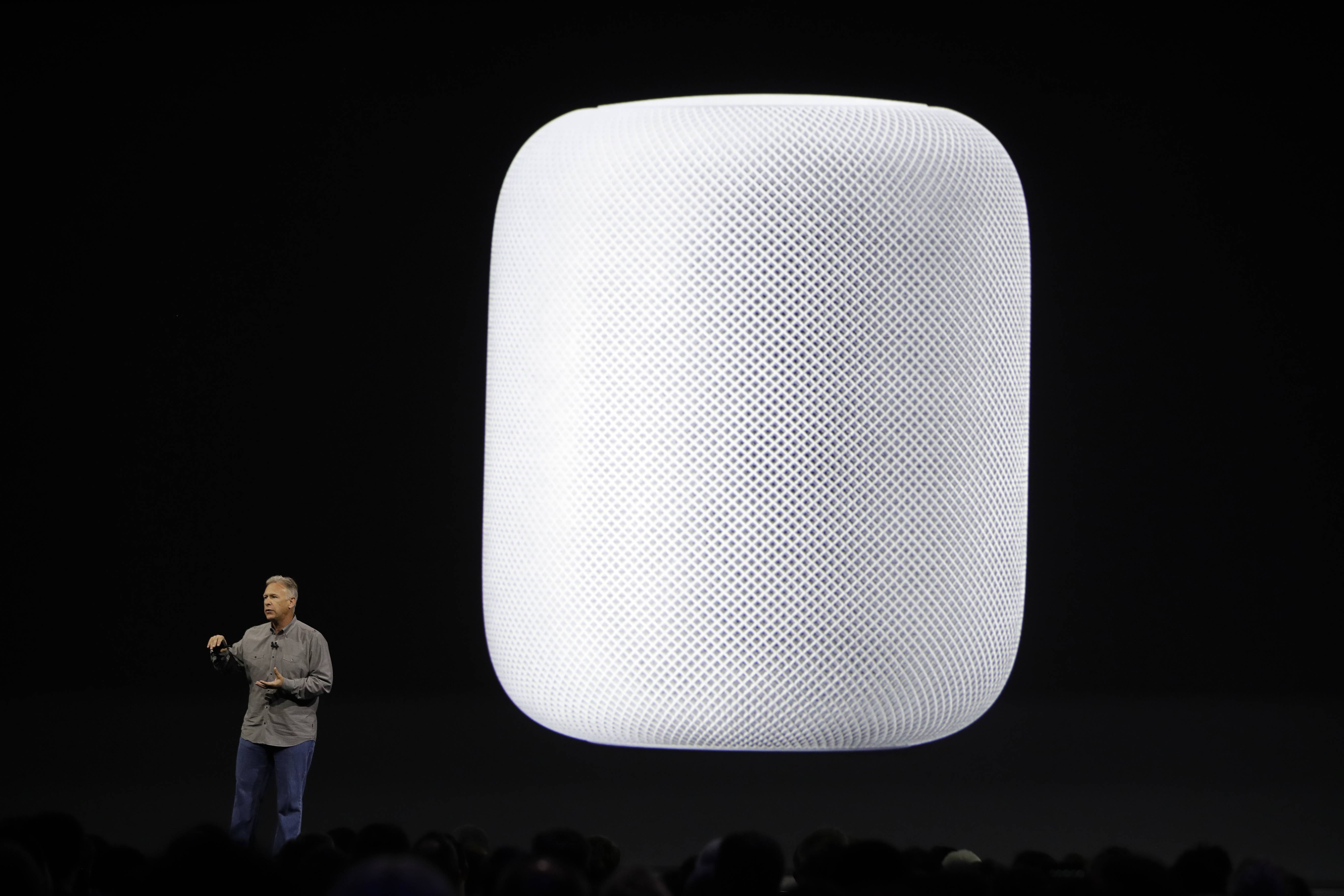 Phil Schiller, Apple's Senior Vice President of Worldwide Marketing, introduces the HomePod speaker at the Apple Worldwide Developers Conference Monday, June 5, 2017, in San Jose, Calif.