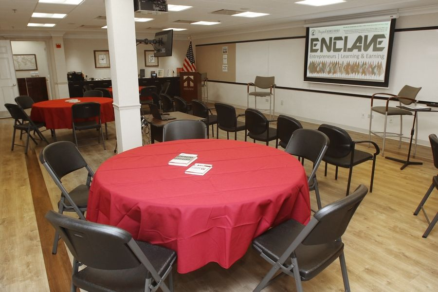 Work room for Enclave for Entrepreneurs in Elk Grove Village, a nonprofit that teaches people how to be a business owner and the psychology behind it.