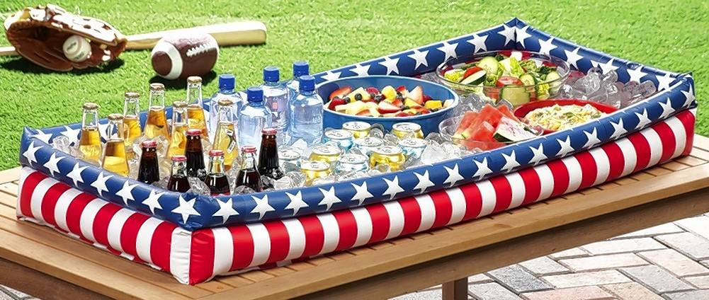 A inflatable table bar and buffet keeps your food and beverages chilled for hours.