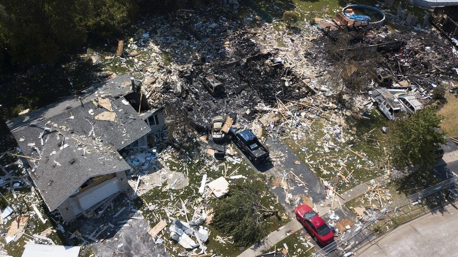 Our drone photos show damage to homes on the 500 block of 7th avenue in Marengo after a gas leak led to an explosion that damanged more than 50 homes,