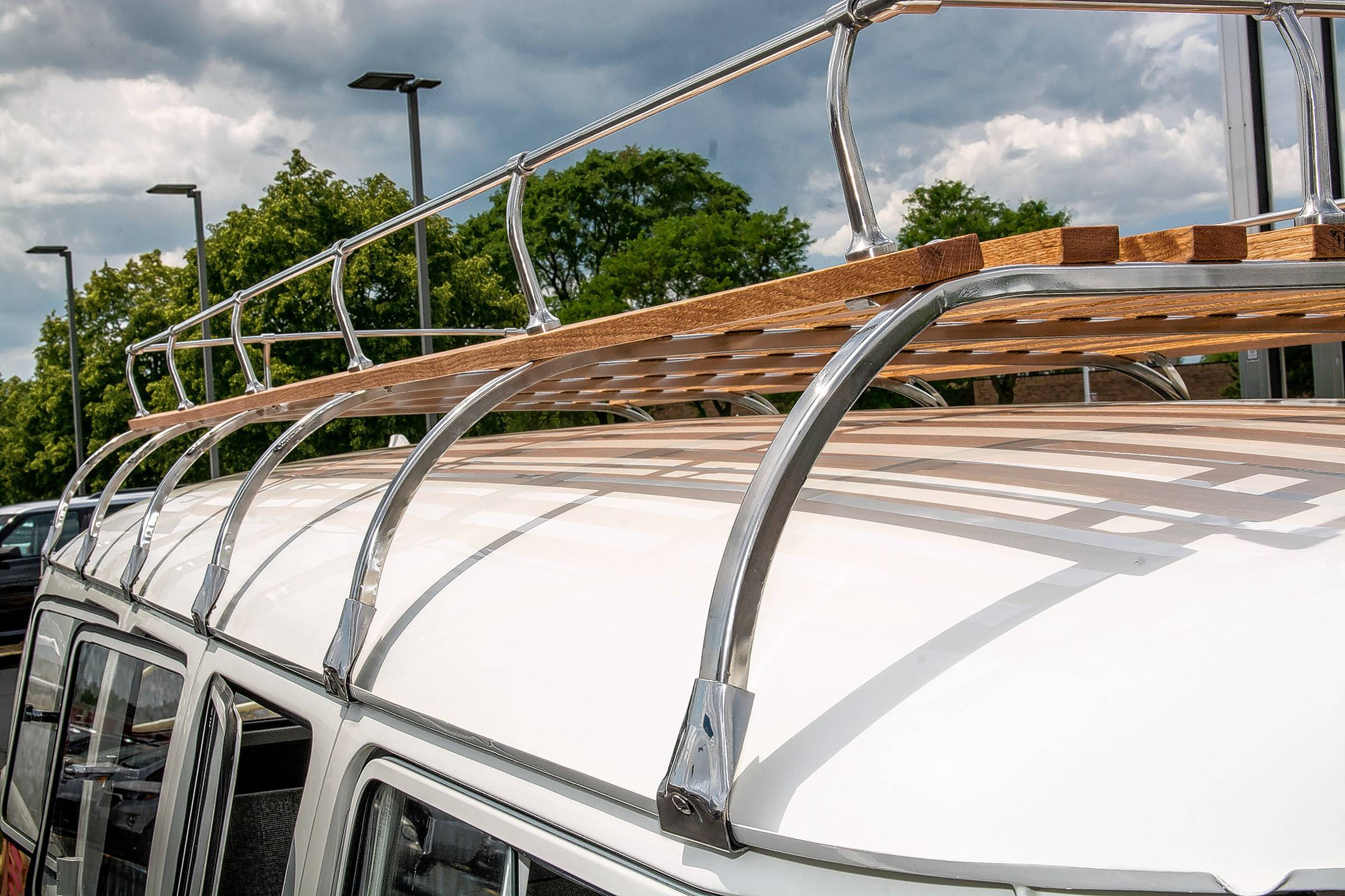 Malpica added the vintage wood and metal roof rack to the bus, giving it more of the beach vibe.