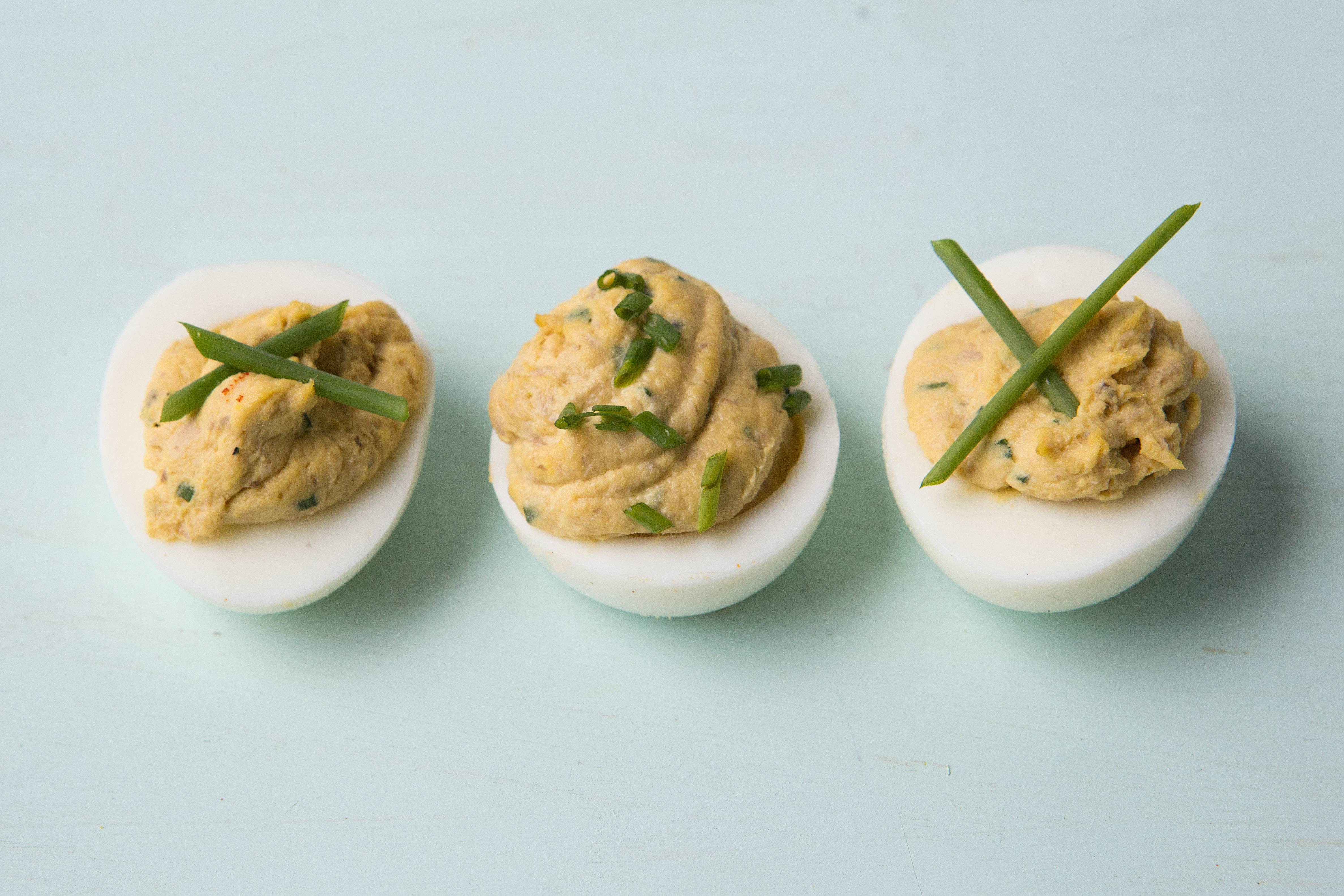 Lourdes's Deviled Eggs With Foie Gras and Tuna. They are named for an aunt of New York chef Alex Raij, who owns Txikito, La Vara and El Quinto Pino restaurants in New York.
