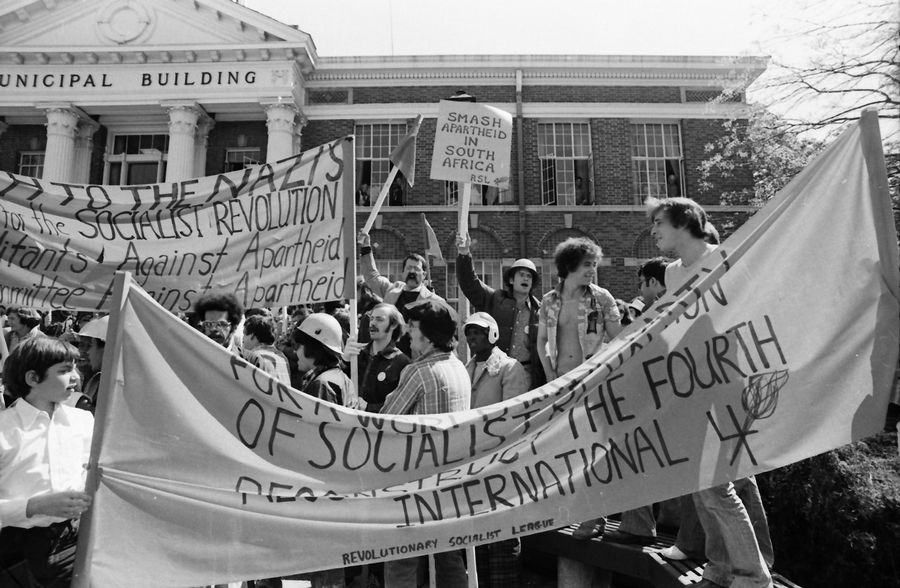 Daily Herald File Photo, 1977Skokie residents protest a proposed Nazi rally outside the municipal building in Skokie, May 1977.