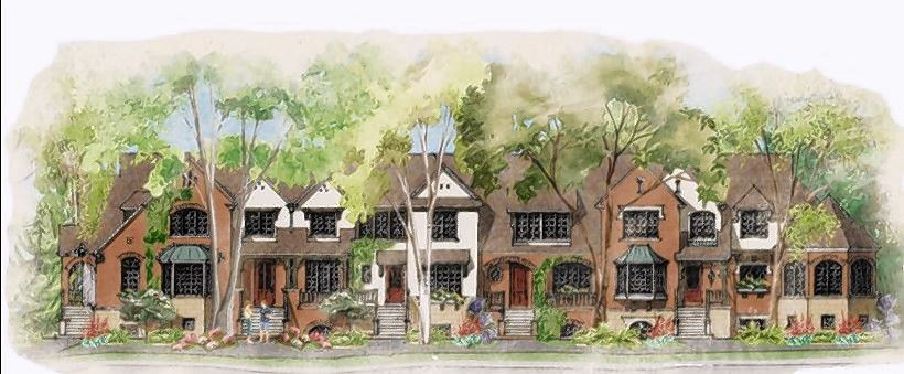 A rendering of the townhouses proposed as part of the planned Station Square development near the Metra station in downtown Libertyville.