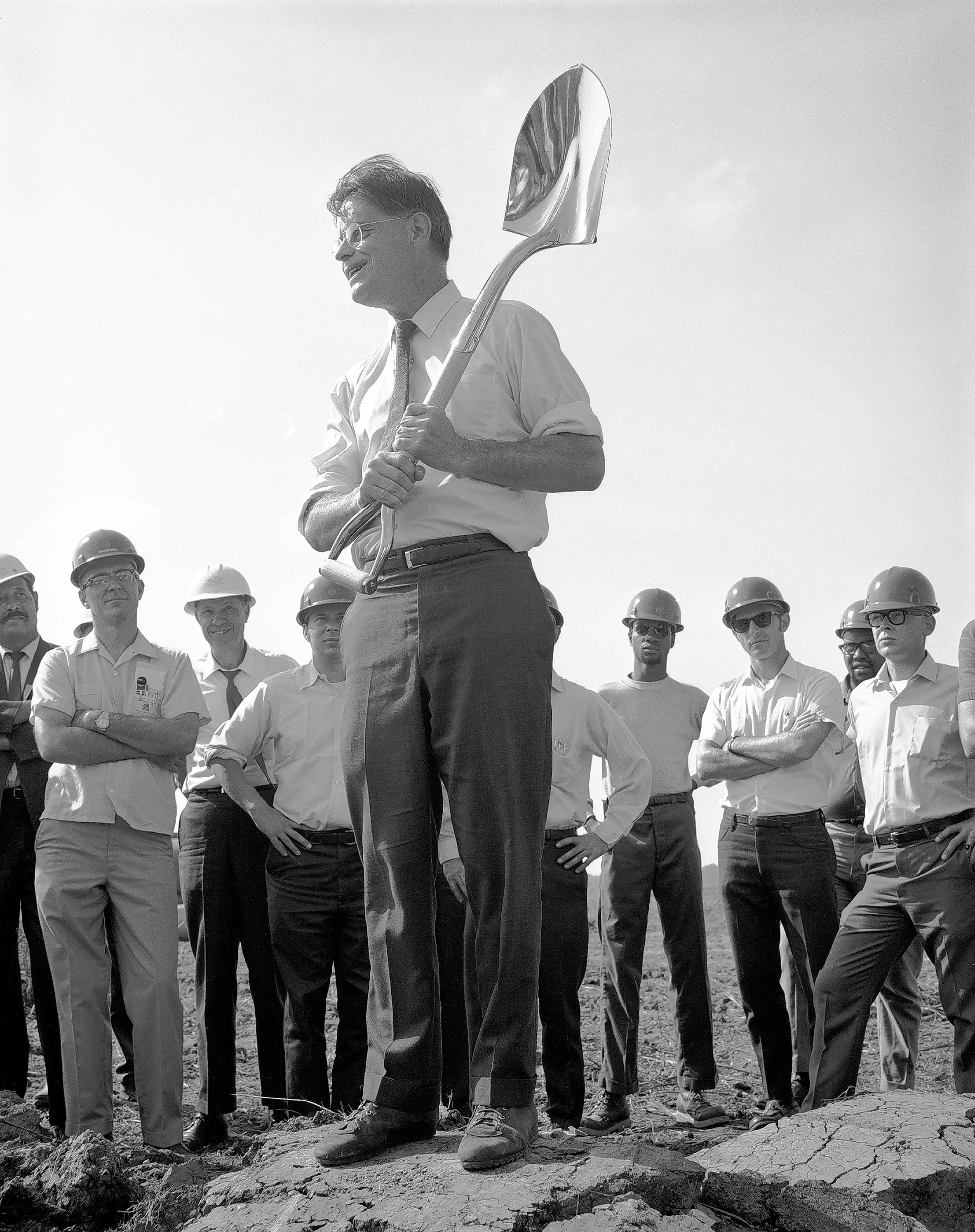 Fermilab's first director, Robert Wilson, is shown at a 1969 groundbreaking ceremony for the research lab's Main Ring.