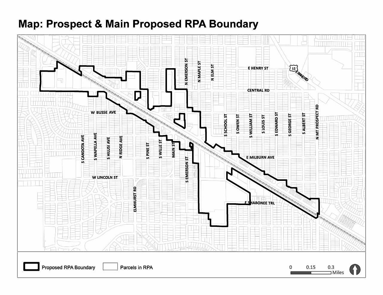 This map shows the boundaries of the downtown tax increment financing district approved in January by the Mount Prospect village board. District 214 officials say it includes many of the same areas as the retired TIF 1 district.