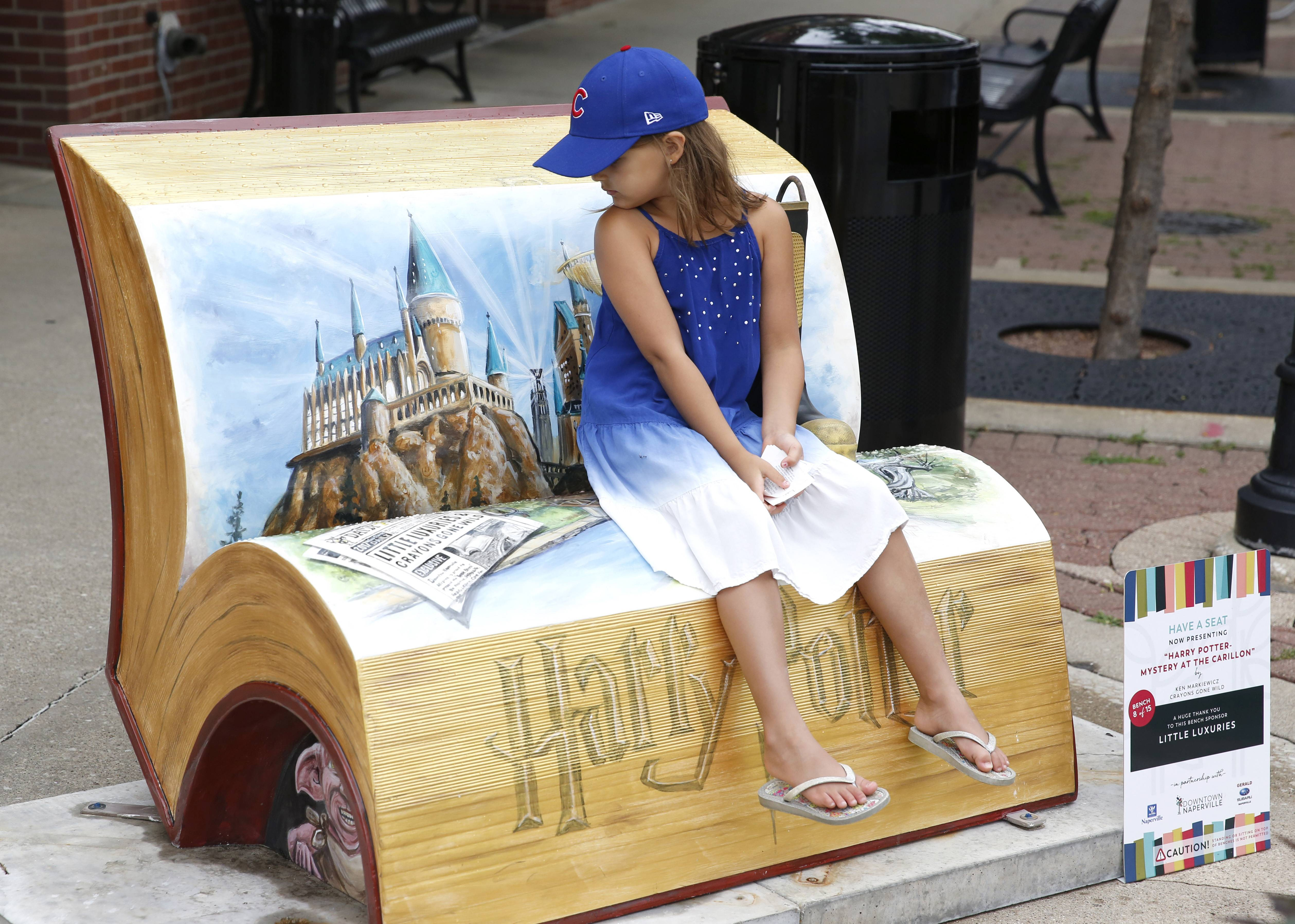 Book-shaped sculptures fill downtown Naperville with imaginative seating
