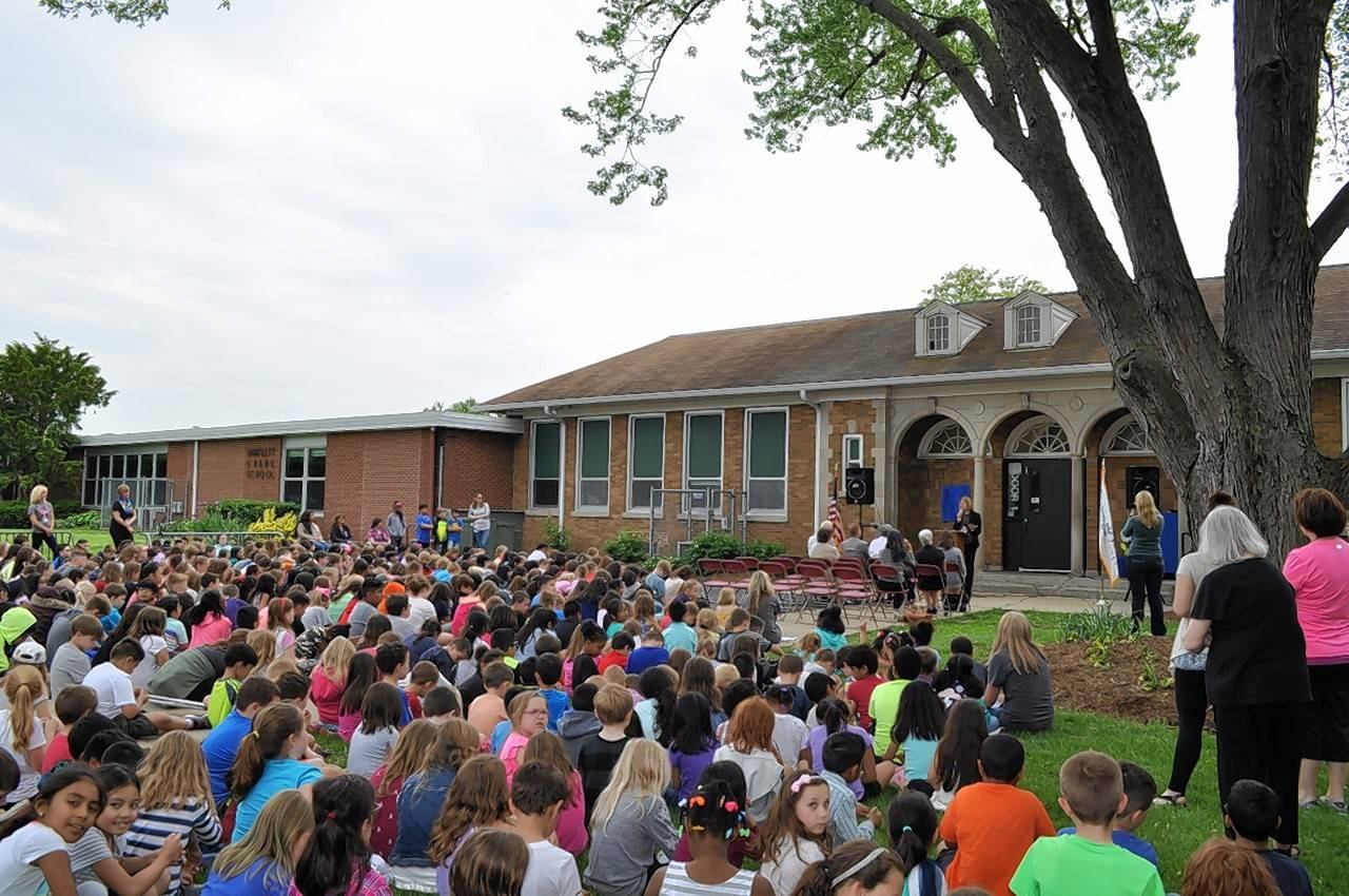 Bartlett Elementary School received a Hanover Township Heritage Marker during a May 26 ceremony, which included the entire student body and officials from Hanover Township and District U-46.